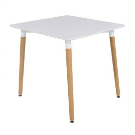 Aspen SQUARE Table, White Top with Beech Legs
