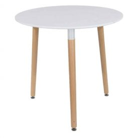 Aspen ROUND Table, White Top with Beech Legs