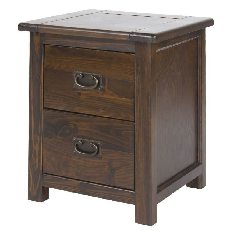 2 Drawer Bedside Cabinet In Dark Wood Cheap Furniture