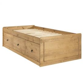Waxed Pine Single Cabin Bed With 3 Drawers