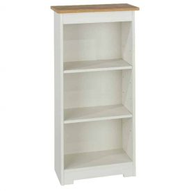 White & Oak Low Narrow Bookcase 2 Shelves [Colorado]