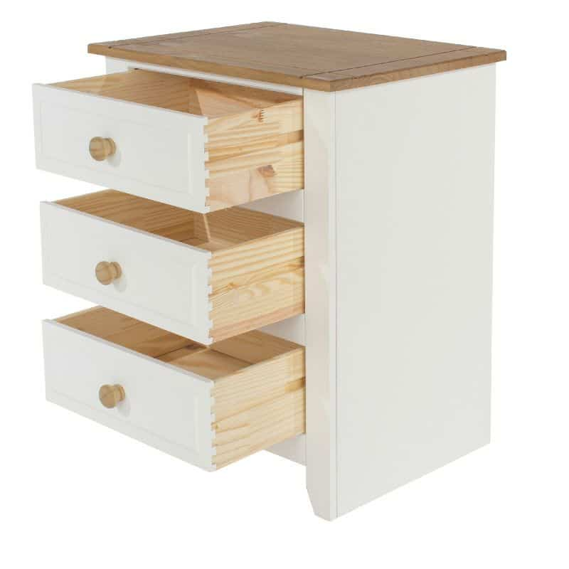 Capri white 3 drawer bedside cabinet cheap furniture for Cheap bedside cabinets