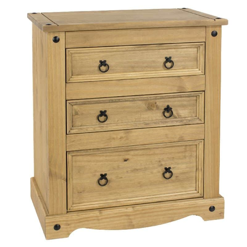 Corona 3 drawer chest in waxed pine cheap furniture for Cheap pine furniture