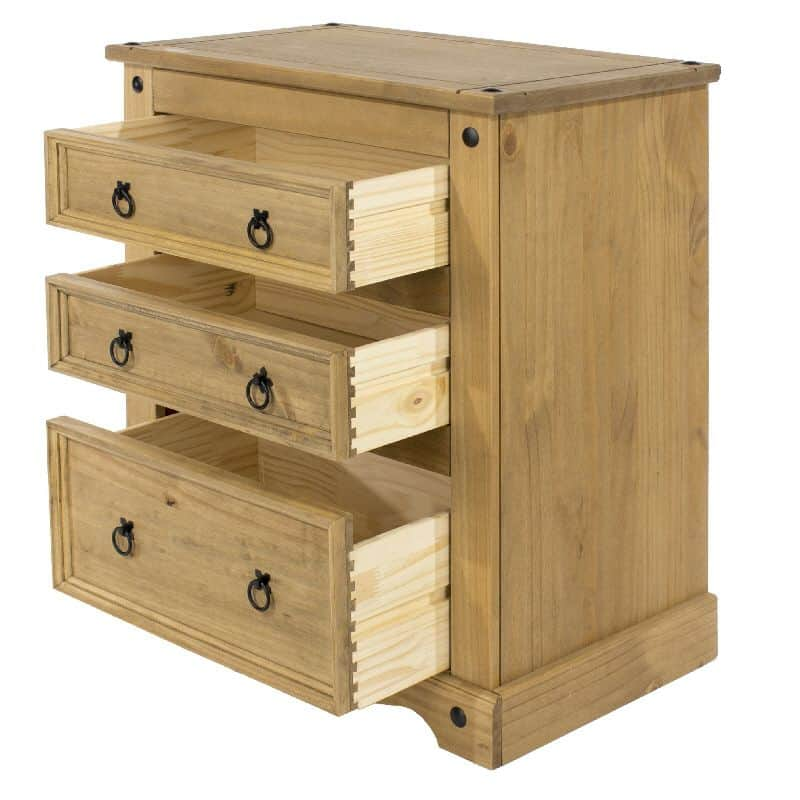 Corona 3 drawer chest in waxed pine cheap furniture for Cheap furniture companies