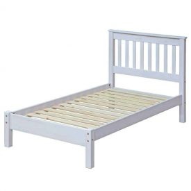 Corona Whitewashed Single Bedstead With Integrated Headboard
