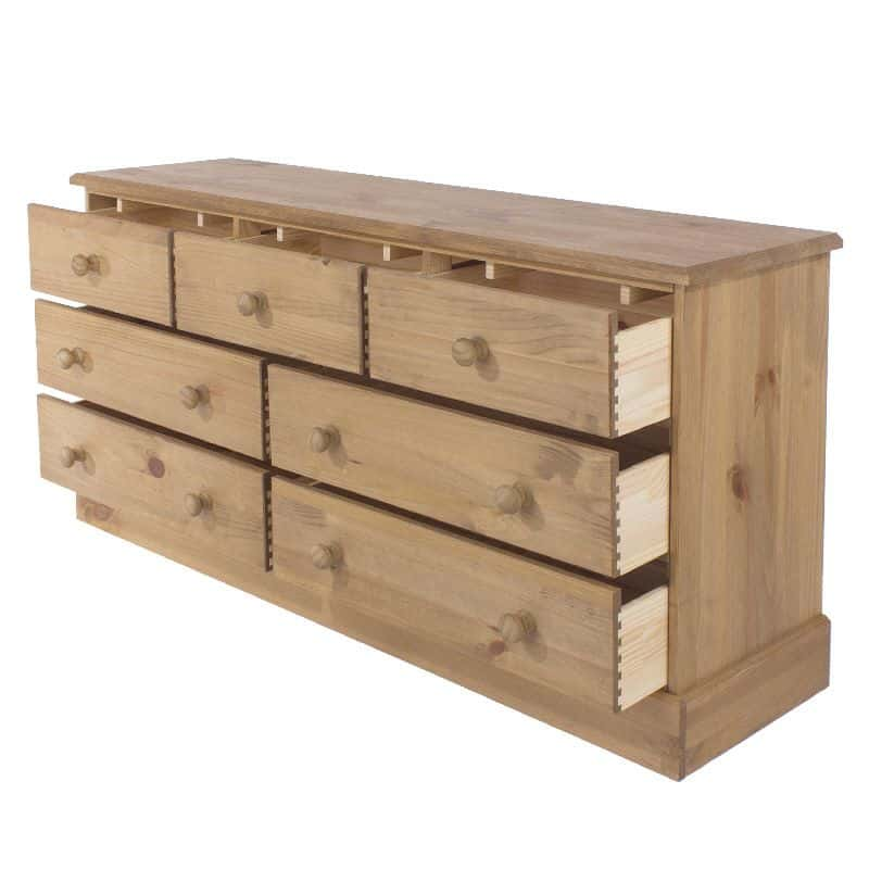 Cotswold pine large 7 drawer chest cheap furniture for Affordable furniture uk