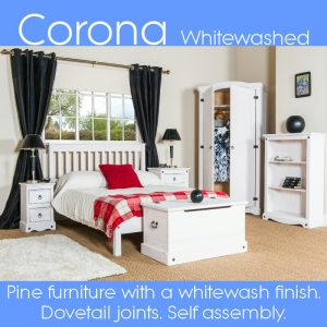 Corona Whitewashed flat pack furniture
