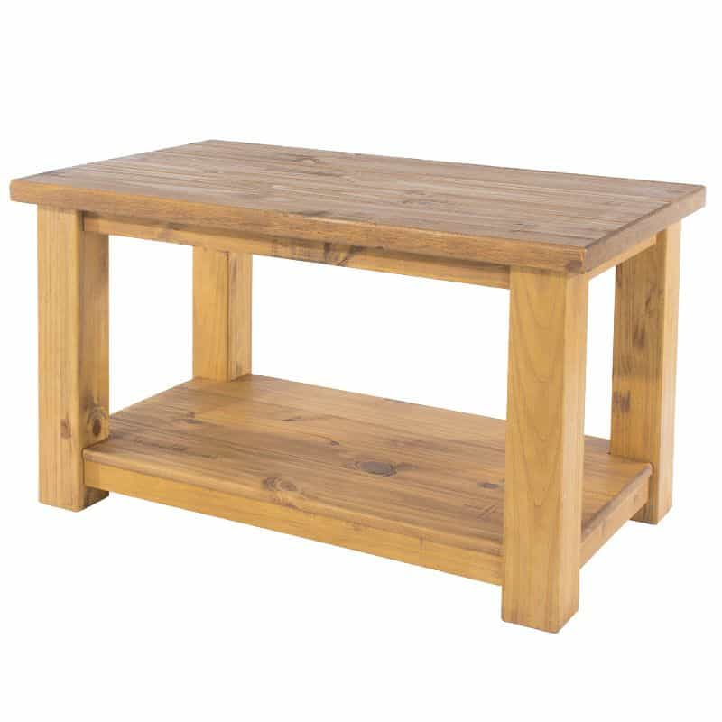 farmhouse pine coffee table low shelf cheap furniture