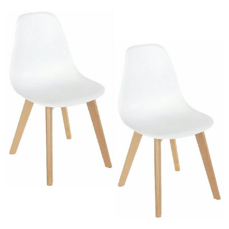 White Retro Plastic & Wood Chairs (x2) [Aspen]
