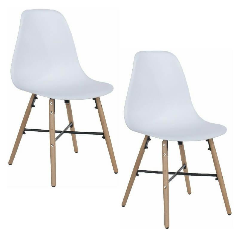 White Retro Chairs with Crossbar (x2) [Aspen]