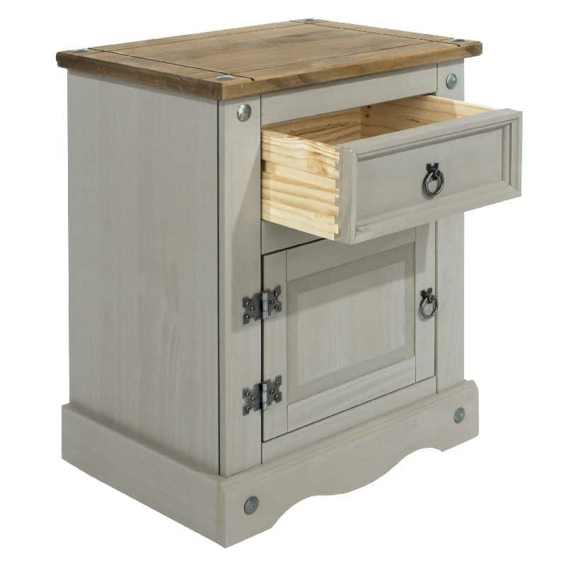 Grey Washed Door Drawer Bedside Unit Cheap Furniture
