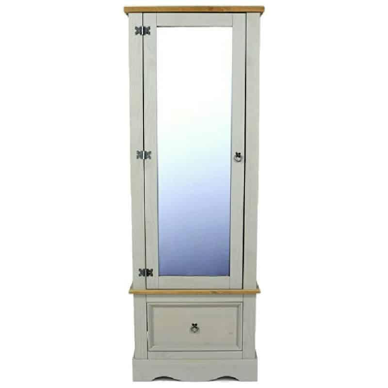 Light Grey Armoire Mirrored Door 1 Drawer [Corona Grey]