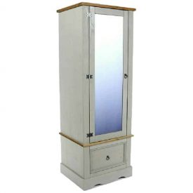 Grey and pine armoire