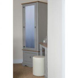 Single grey armoire in situ