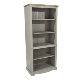 Light Grey Tall Bookcase 4 Shelves [Corona Grey]