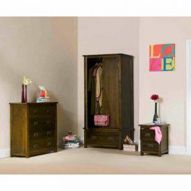Dark Wood Bedside Cabinet 2 Drawers [Boston]