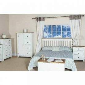 White & Pine Tallboy 1 Door 4 Drawers [Capri]