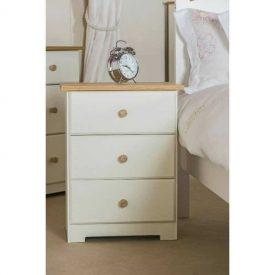 White & Oak Bedside Cabinet 3 Drawers [Colorado]