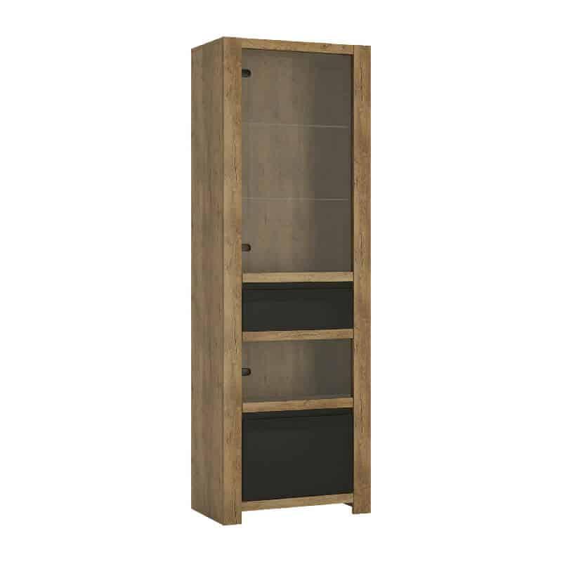 Oak & Black Display Cabinet 2 Doors 1 Drawer [Havana]