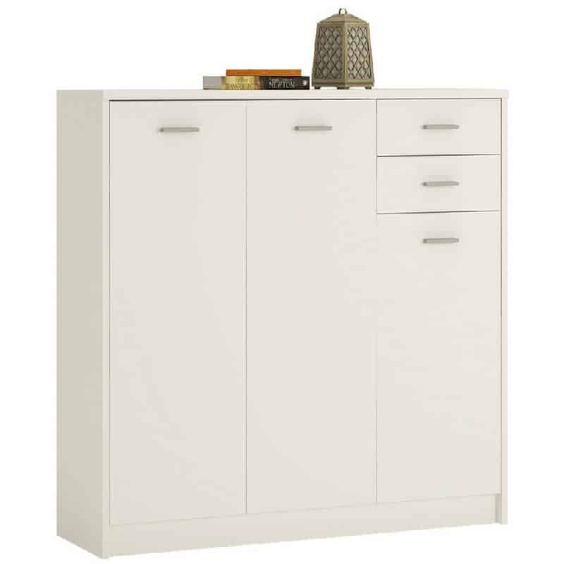 Pearl White Tall Cupboard, 3 Doors, 2 Drawers [4You]