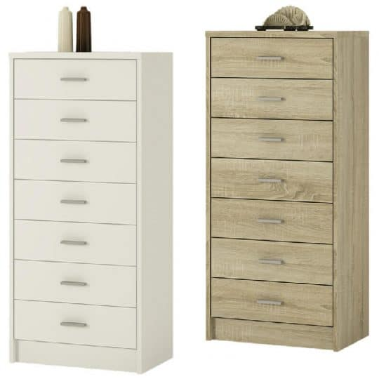 4you Narrow Chest Oak Or White 7 Drawers