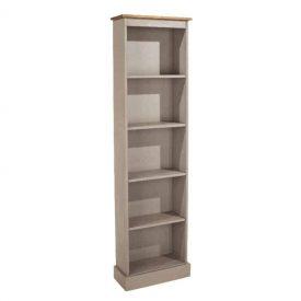 Light Grey Tall Narrow Bookcase [Corona Grey]