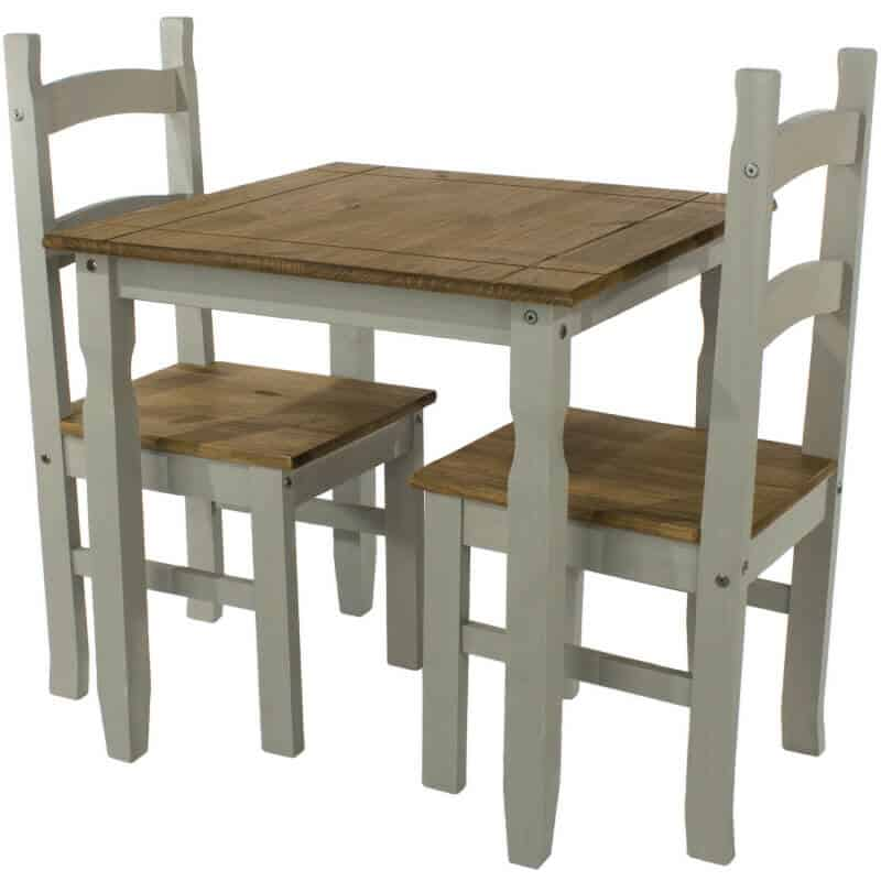 Corona Grey Dining Set Washed Pine 1 Table 2 Chairs