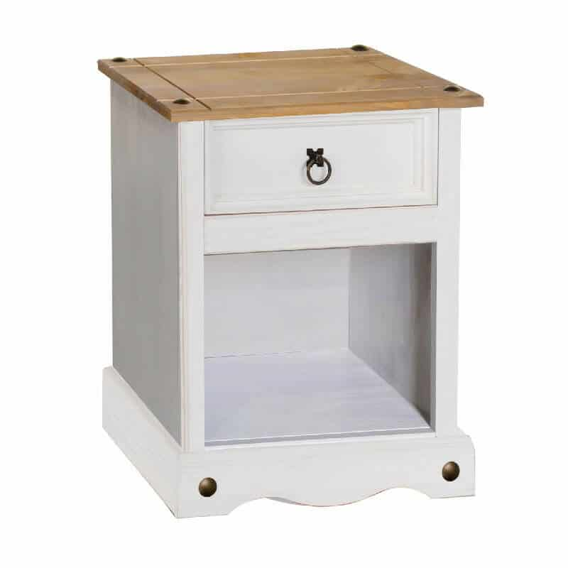 White Small Bedside Cabinet Pine Top 1 Drawer [Corona]