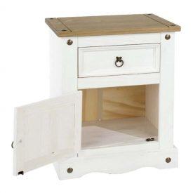 White Bedside Cabinet Pine Top 1 Door 1 Drawer [Corona]