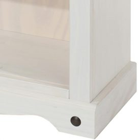White Tall Bookcase with Pine Top [Corona]