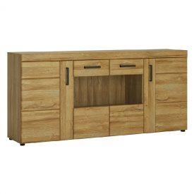 Oak Part Glazed Wide Sideboard, 4 Doors [Cortina]