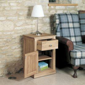 Solid Oak Lamp Table 1 Door 1 Drawer [Mobel]