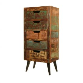 Reclaimed Wood Narrow 5 Drawer Chest [Coastal Chic]