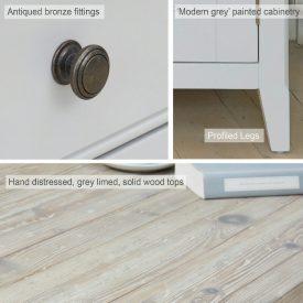Grey Painted Large Sideboard 2 Doors 3 Drawers [Signature]