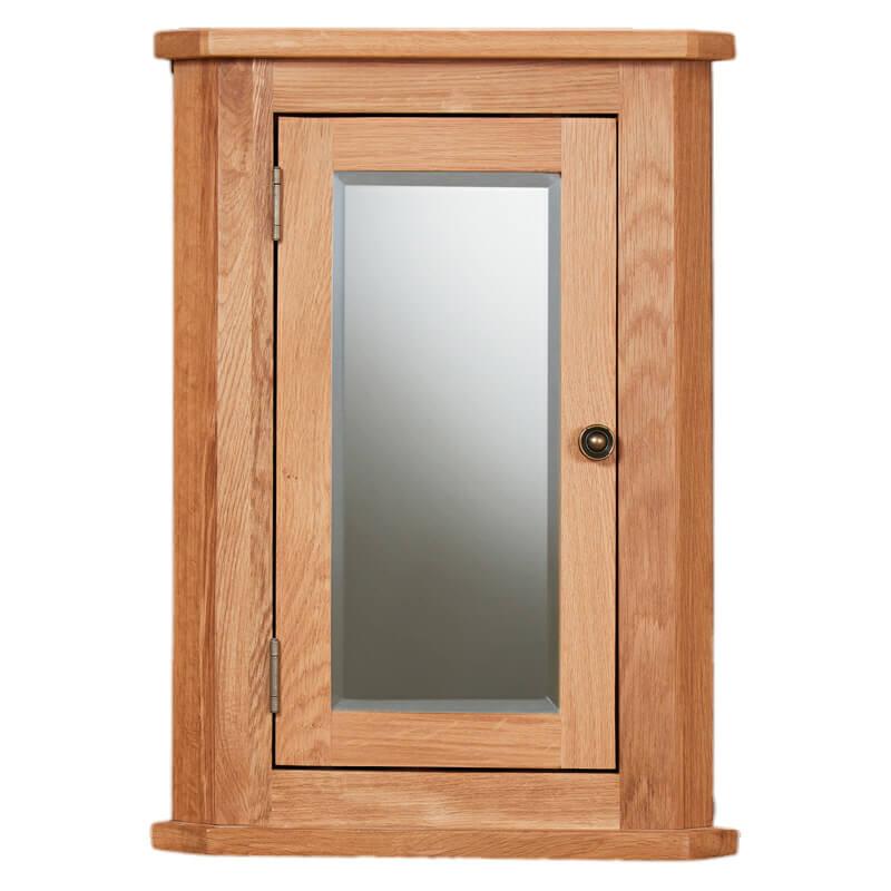 Oak Corner Bathroom Cabinet, Mirrored Door [Mobel]