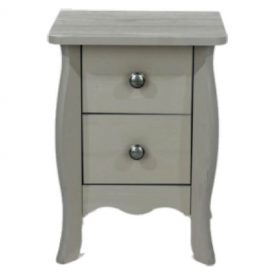 Light Grey Small Bedside Cabinet 2 Drawers [Provence]