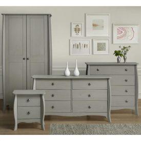 Light Grey Bedside Cabinet 2 Drawers [Provence]