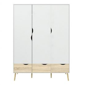 White & Oak Triple Wardrobe with Drawers [Oslo]
