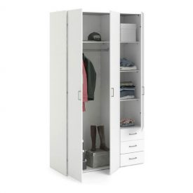 White Triple Wardrobe with 3 Drawers [Space]