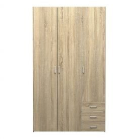 Oak Triple Wardrobe with 3 Drawers [Space]
