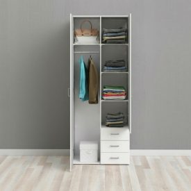 White Double Wardrobe with 3 Drawers [Space]