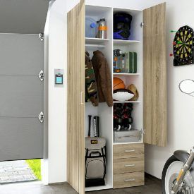 Oak Double Wardrobe with 3 Drawers [Space]