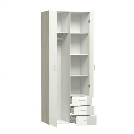 Oak & White Double Wardrobe with 3 Drawers [Space]
