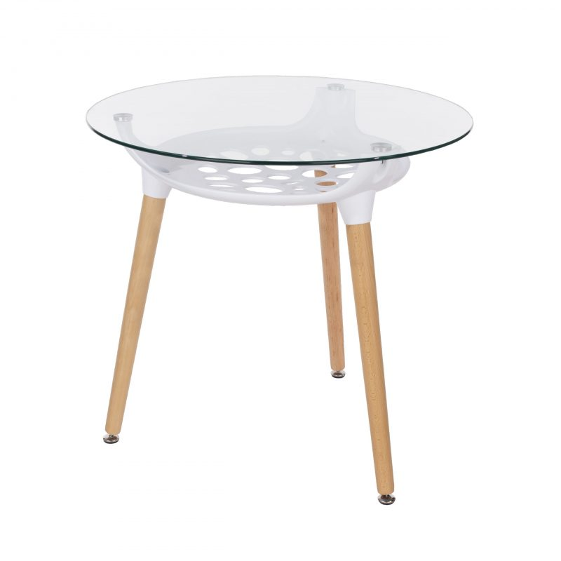 Round Glass-Top Table with Shelf [Aspen]