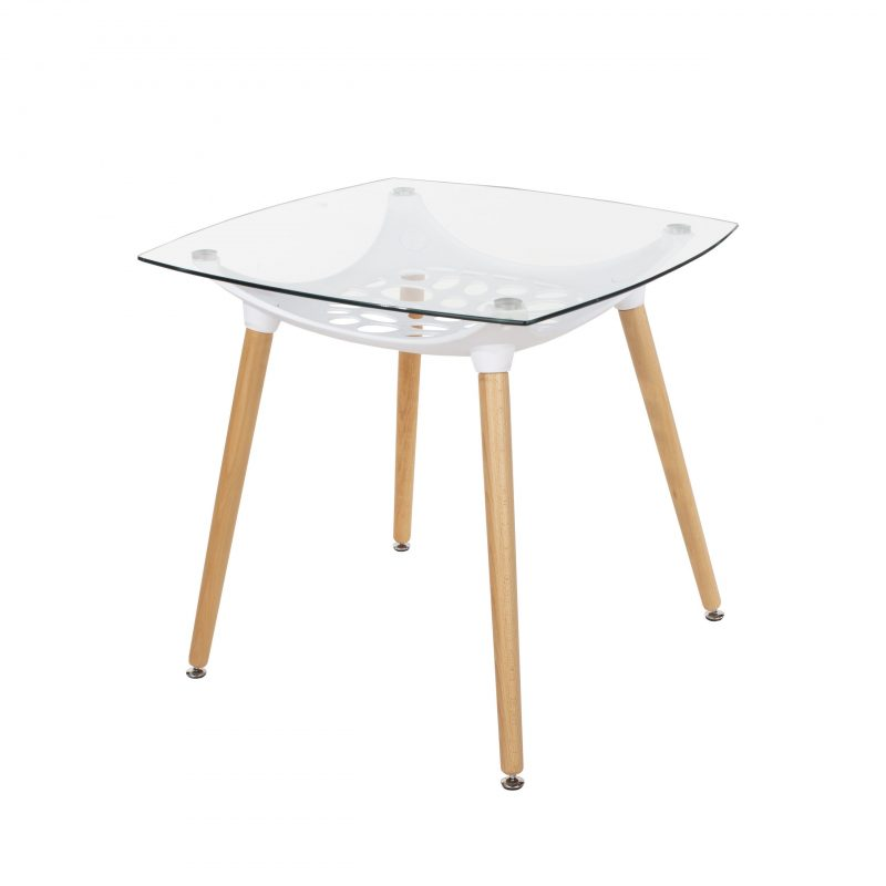 Square Glass-Top Table with Shelf [Aspen]