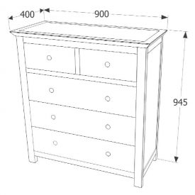 Mirrored Chest of 5 Drawers (2+3 layout) [Ayr]