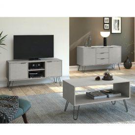 Textured grey living room furniture.