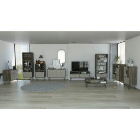 Oak, Grey & Glass Drinks Cabinet [Nevada]