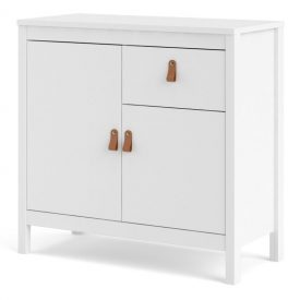 White Small Sideboard, 2 Doors 1 Drawer [Barcelona]